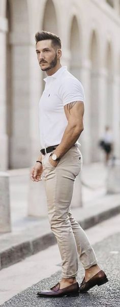 with a simple summer outfit idea with a white polo shirt dark brow - Dark Shirt - Ideas of Dark Shirt - with a simple summer outfit idea with a white polo shirt dark brown leather belt khaki trousers watch no show socks brown penny loafers
