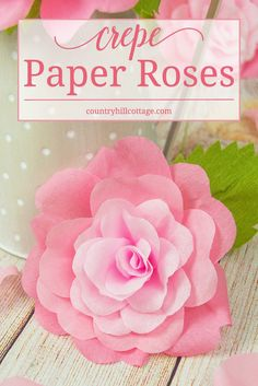 Learn how to make romantic crepe paper roses. These handcrafted beauties are very long lasting and wonderful for home decorating, in paper flower arrangements and wedding decor. We created a printable template to make cutting the petals and leaves as easy Tissue Paper Roses, Paper Flowers Roses, Paper Peonies, How To Make Paper Flowers, Giant Flowers, Diy Flowers, Free Paper Flower Templates, Templates Printable Free, Printable Labels