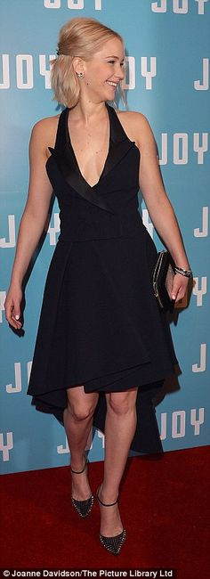 jennifer lawrence at joy photocall in a black tuxedo dress by dior