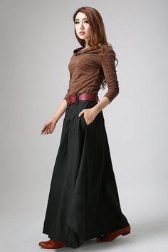 Black skirt woman maxi skirt custom made long  linen by xiaolizi, $79.00