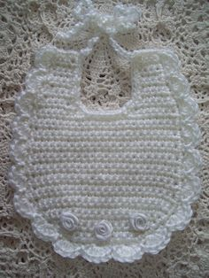 Best 12 Sweetest Hand Crochet - White with White Ribbon Roses Baby Bib Crochet Baby Bibs, Crochet Baby Clothes, Baby Blanket Crochet, Hand Crochet, Baby Knitting, Free Crochet, Crochet Hats, Bib Pattern, White Ribbon