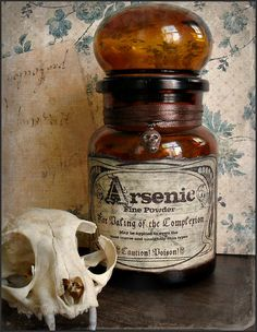 Vintage Amber Bottle with Arsenic Label by BedlamSupplyCo on Etsy, $11.00 victorian poison halloween