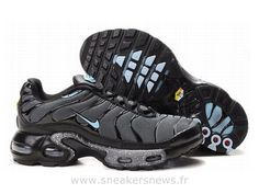 Chaussures de Nike Air Max Tn Requin Homme  Noir et Clair bleu Site Tn Pas Cher