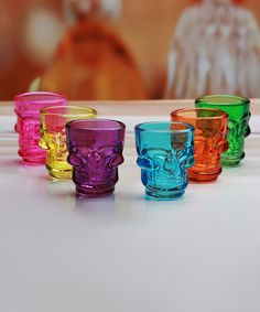 Look at this Color Skull Shot Glass - Set of Six on today! Skull Shot Glass, Shot Glass Set, Tequila Shots, Cooking Gadgets, Kitchen Gadgets, Witch House, Jar Storage, Gifts For Family, Fall Decor