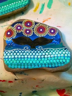 Hand Painted Beach Stone ~ Whale of a Tail w/ Sunset Sky Over the Ocean ~ Colorful Painted Rock Home Decor