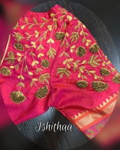 Floral zardosi embroidered blouse designed at Ishithaa!! Contemporary bridal blouse it is. Ping us on 9884179863 to book an appointment... :)