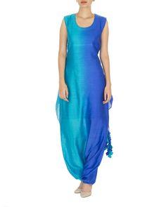 Multi shaded blue dhoti dress | Shop now: www.thesecretlabel.com
