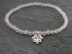 Inspirational Yoga Jewelry- Meaningful Jewelry Gifts-Lotus Silver Rose Quartz Bracelet Jewelry