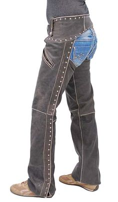 Studded Trim Vintage Brown Leather Chaps With Pant Pockets For Women