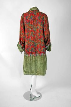 want it on me now... 1920's French Beaded Metallic Floral-Lame & Green Silk-Velvet Deco Flapper Coat...