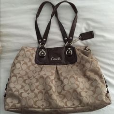 Coach Ashley Signature Satchel This is one of my favorite bags. It's authentic Coach and does show some wear and tear (you really have to look for it though). Matching wallet available in my closet. I bundle. NO TRADES! Coach Bags Satchels