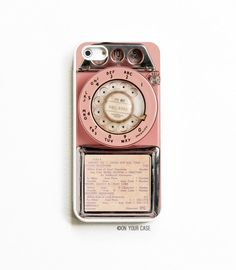 Gummi-iPhone 5 Case. iPhone 5 s Fall. Vintage Rosa Münztelefon. iPhone 5 Fälle. iPhone 5 s Fällen. Telefon-Fall. iPhone Hülle.