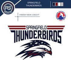 Concept Logo design for the Springfield Thunderbirds Hockey team from the AHL Nhl Logos, Hockey Logos, Sports Team Logos, Mustang Logo, Sports Decals, Logo Concept, Logo Design Inspiration, Branding, Graphic Art