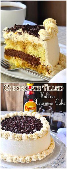 Chocolate Filled Kahlua Tiramisu Cake - A homemade tiramisu cake soaked in Kahlua coffee liqueur & filled with a whipped chocolate espresso mascarpone ganache + espresso mascarpone cream frosting.