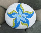Hand Painted Cape Cod Beach Stone/Whimsical Blue Starfish/Unique Paperweight/Coastal Decor/Decorative