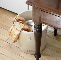 Antique Crock to Hold Kitchen Laundry