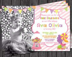 Pink and Gold First Birthday Invitation 1st by PuggyPrints