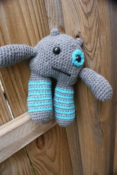blue and gray cute monster - CROCHET