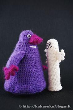 Knitted Groke and Hattifattener photo by kukuruku Crochet Animals, Crochet Toys, Knit Crochet, Knitting For Kids, Knitting Socks, Projects For Kids, Crafts For Kids, Tove Jansson, Crochet Fashion