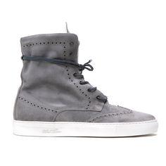 Men's Grey Distressed Suede Molto Alto Sneaker Boot