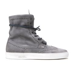 Men's Grey Distressed Suede Molto Alto Sneaker Boot