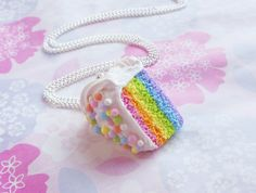 Polymer Clay Pastel Rainbow Cake Slice by ScrumptiousDoodle