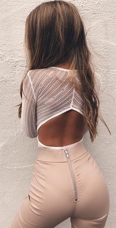 #winter #outfits white lace long-sleeved top
