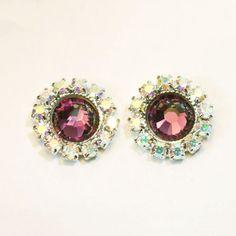 Purple Plum Stud Earrings Amethyst Maroon Crystal AB Post earrings Halo Flat Swarovski rhinestones Crystal Silver finish, Antique Pink,SE103