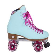 Moxi Beach Bunny Blue Sky Roller Skates. Pastel blue roller skates with pink highlights at Lucky Skates