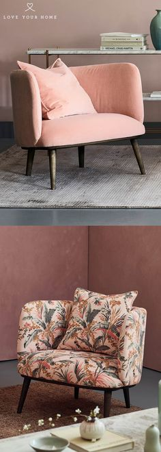 Love Your Home - The Isaac chair is gorgeous in any fabric, specially in this blush pink stain resistant double velvet 'Blossom'. The mid century style works perfectly in any room making it our most popular armchair. The Isaac Armchair upholstered in Botanical leaf printed velvet. The second Isaac armchair below is in the Botanical leaf print velvet 'petal' which is a beautiful shade of blush pink.