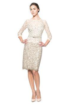 Lace ¾ Sleeve Dress with Grosgrain Ribbon Belt