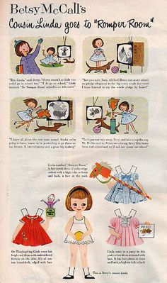 Betsy McCall's Cousin Linda Goes to Romper Room 1958* For lots of free paper dolls International Paper Doll Society #ArielleGabriel #ArtrA thanks to Pinterest paper doll collectors for sharing *