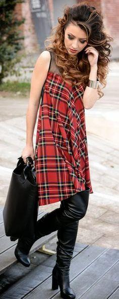 Street Chic Plaid Mid Dress Not a tutorial Inspiration
