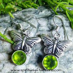 Peridot Butterfly Earrings Sterling Silver