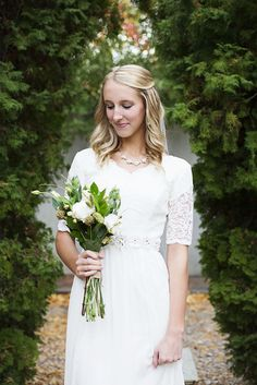 modest lace sleeve wedding gown