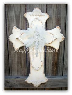 Medium Wall Cross  Antiqued White Shabby Chic by happygoose, $54.95