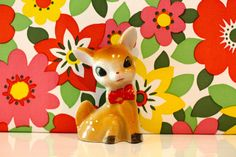 Vintage China Deer Kitsch Bambi Kawaii Red by rebeccaheartsvintage, £7.00