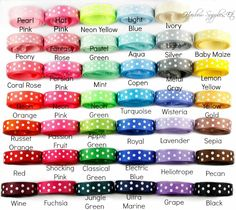 Newly Updated Swiss Dot Ribbon!  We now carry 41 colors of swiss dot ribbon in 3/8 inch!  Hairbow Supplies, Etc. - Your One Stop Shop for Hair Bow Supplies!