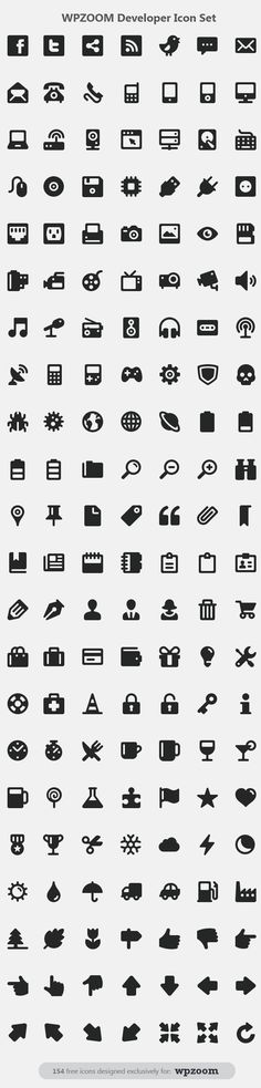 Free developer icon set from WPZoom