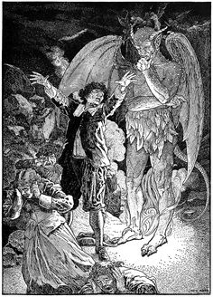"""Cursing. By Louis Rhead from """"The life and death of Mr. Badman"""" by John Bunyan (1900)"""