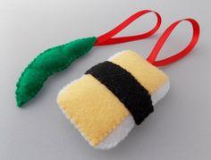 Felt Sushi Christmas Ornaments  Tamago & Edamame by DanielleLondon