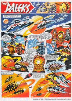 A lot of us who grew up reading in the will fondly remember The Daleks strip on the back page - What some of you m. Comic Books Art, Comic Art, Book Art, Doctor Who Magazine, Doctor Who Comics, The Rouge, Second Doctor, Classic Sci Fi, Dalek