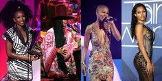 Check out these hot hairstyles from this year's to try at home. Brandy's bold bush, Eryka Badu's long sleek braids, V Bozeman's barely there hair, or Teyana Taylor's tamed curls - which is your favourite? Erika Badu, Hairdos, Hairstyles, Soul Train Awards, Hot Hair Styles, Teyana Taylor, Celebs, Celebrities, Hair Trends