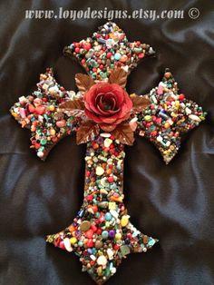 16x12 Wooden cross, mosaic cross, wall cross with glass gems