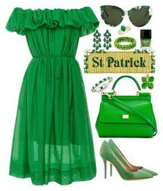 """St.Patrick's Day"" by alicefalina ❤ liked on Polyvore featuring Paule Ka, Salvatore Ferragamo, Dolce&Gabbana, Aurélie Bidermann, Siman Tu and Butter London"