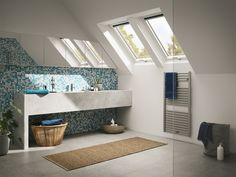 If you're looking for loft conversion idea to start planning for daylight in your loft conversion, VELUX can help you find your inspiration. Loft Bathroom, Bathroom Windows, Bathroom Ideas, Open Plan Bathrooms, Dark Kitchen Cabinets, Modern Roofing, Roof Window, High Walls, Light And Space