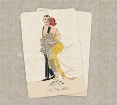 Save the Date Wedding Invitations Vintage Deco Theme by GoGoSnap, $90.00