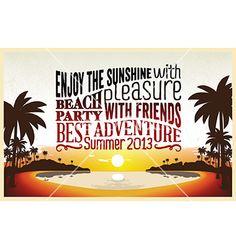 Retro vintage summer poster design with typography vector by vintagevectors on VectorStock®