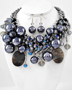 """""""Navy Luxe"""" Necklace Set     Link to purchase: http://payv.me/HqTPfu     Two-tone Navy & Hematite Beaded Grey Semi-precious Stone & Glass Crystal Cluster Necklace & Earring Set"""