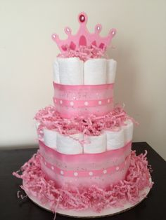 pinterest baby shower decoration diaper centerpiece | ... of mini 2 tier princess diaper cake girl baby shower pink wallpaper